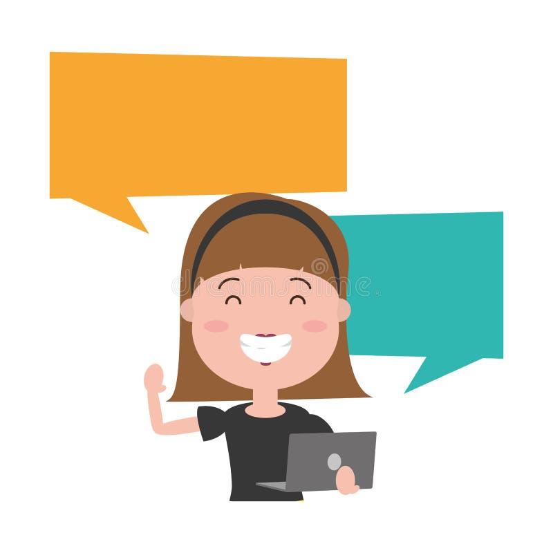 Femme avec le caract?re d'avatar d'ordinateur portable illustration de vecteur