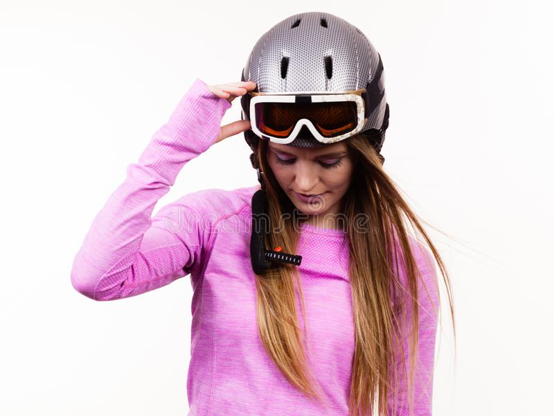 Femme avec le casque sportif images libres de droits