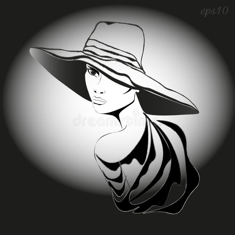 Femme avec le chapeau illustration de vecteur