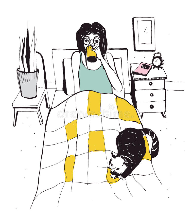 Femme avec le chat sur le lit Illustration tirée par la main de vecteur illustration de vecteur
