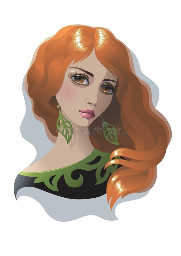 Femme avec le cheveu rouge illustration stock