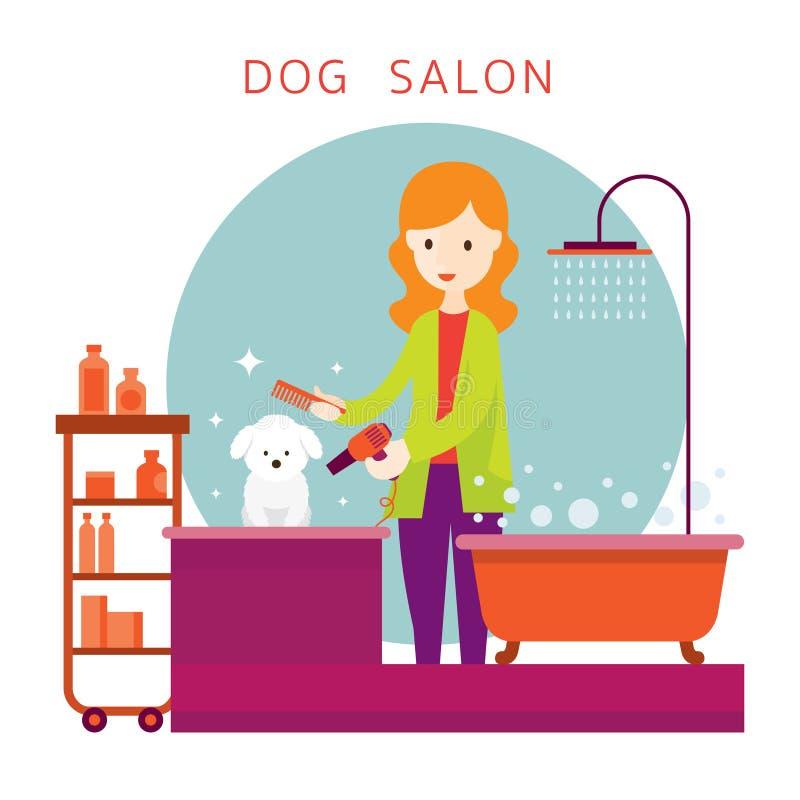 Femme avec le chien, boutique de toilettage illustration de vecteur
