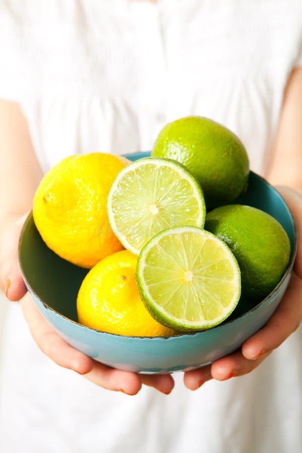 Femme avec le citron et la limette photographie stock libre de droits