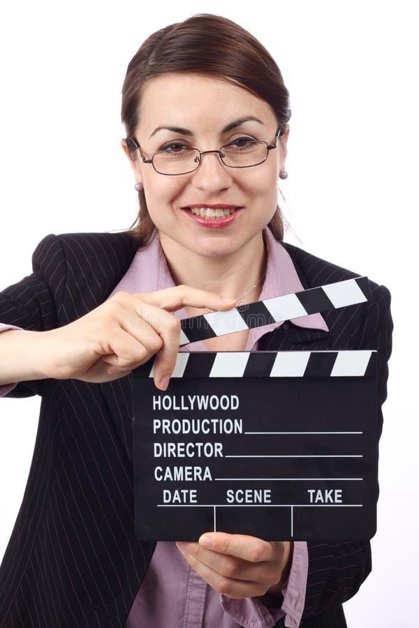 Femme avec le clapet de film image libre de droits