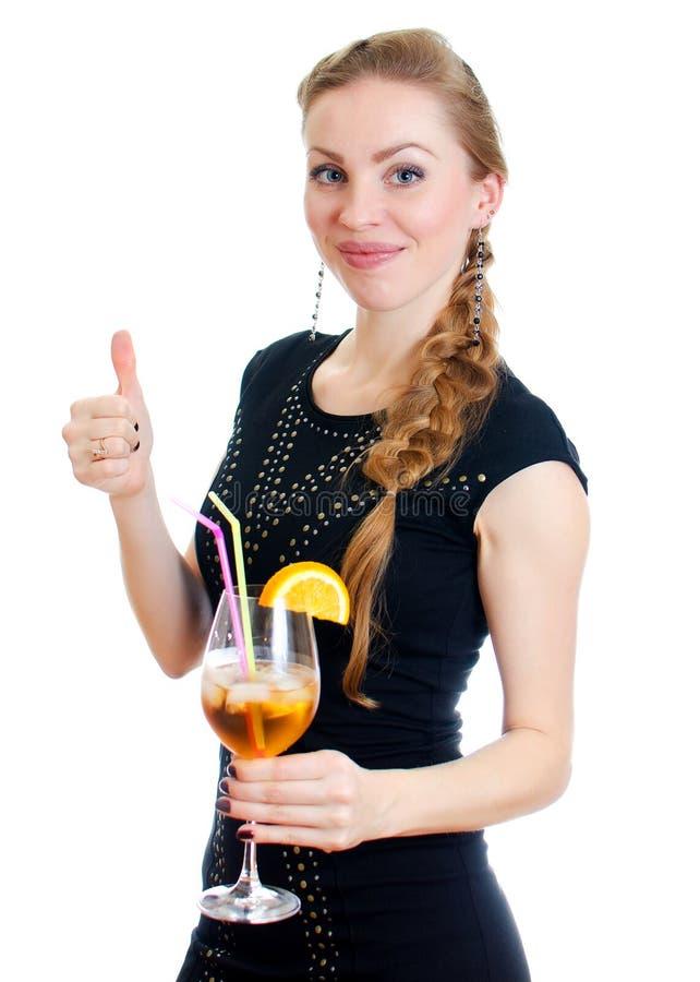 Femme avec le cocktail. image libre de droits