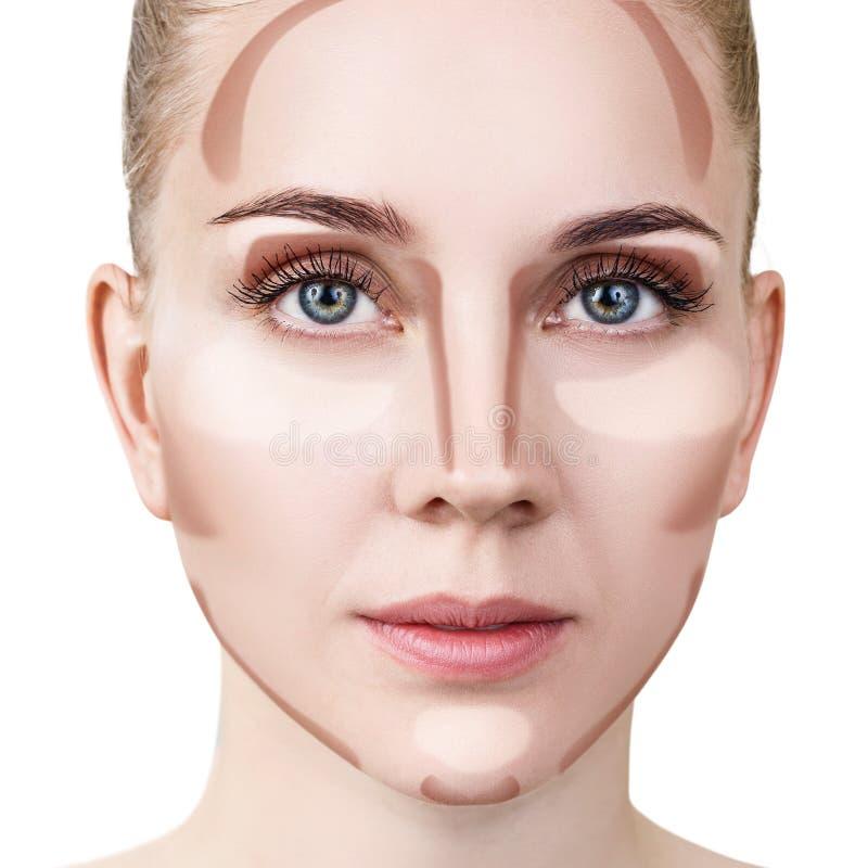 Femme avec le contournement d'échantillon et le maquillage de point culminant images stock