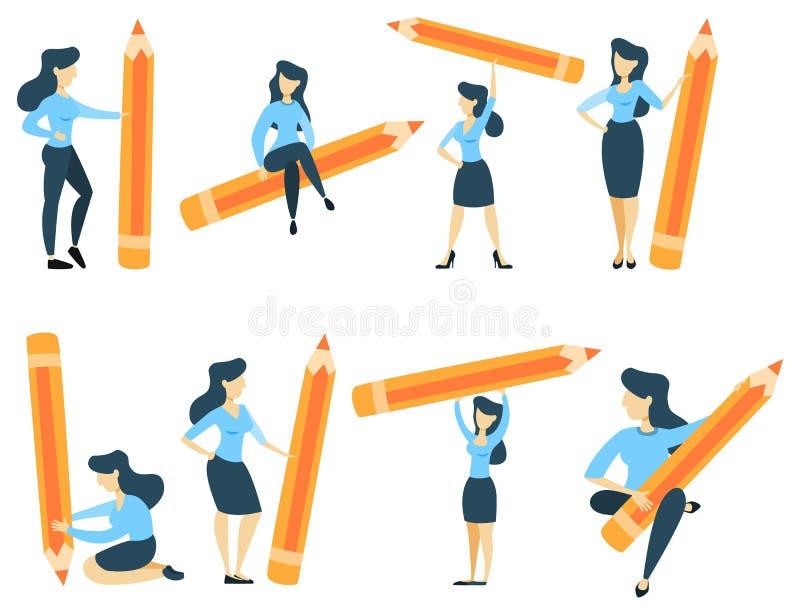 Femme avec le crayon illustration libre de droits