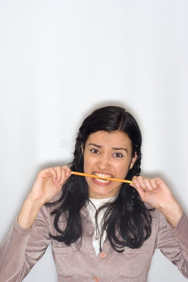 Download Femme avec le crayon photo stock. Image du écriture, manger - 8653678