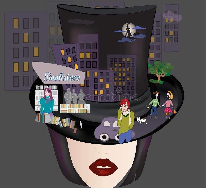 Femme avec le cylindre avec le collage de ville. Fond urbain de nuit illustration libre de droits