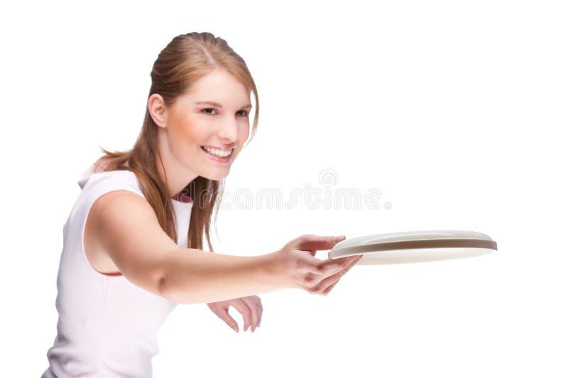 Femme avec le frisbee photos stock