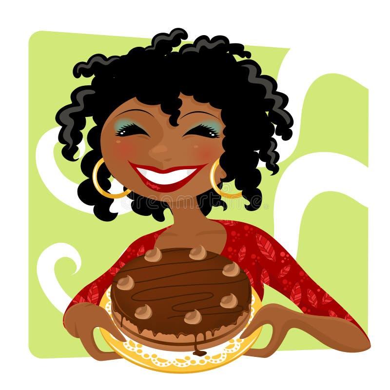 Femme avec le gâteau illustration stock