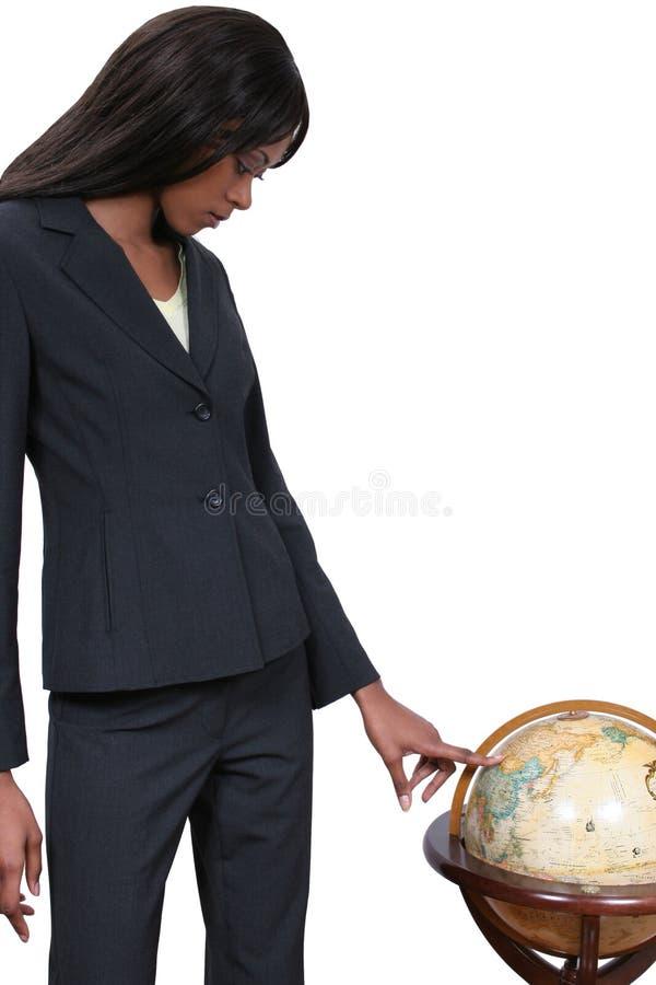 Download Femme avec le globe photo stock. Image du monde, trouvaille - 69798
