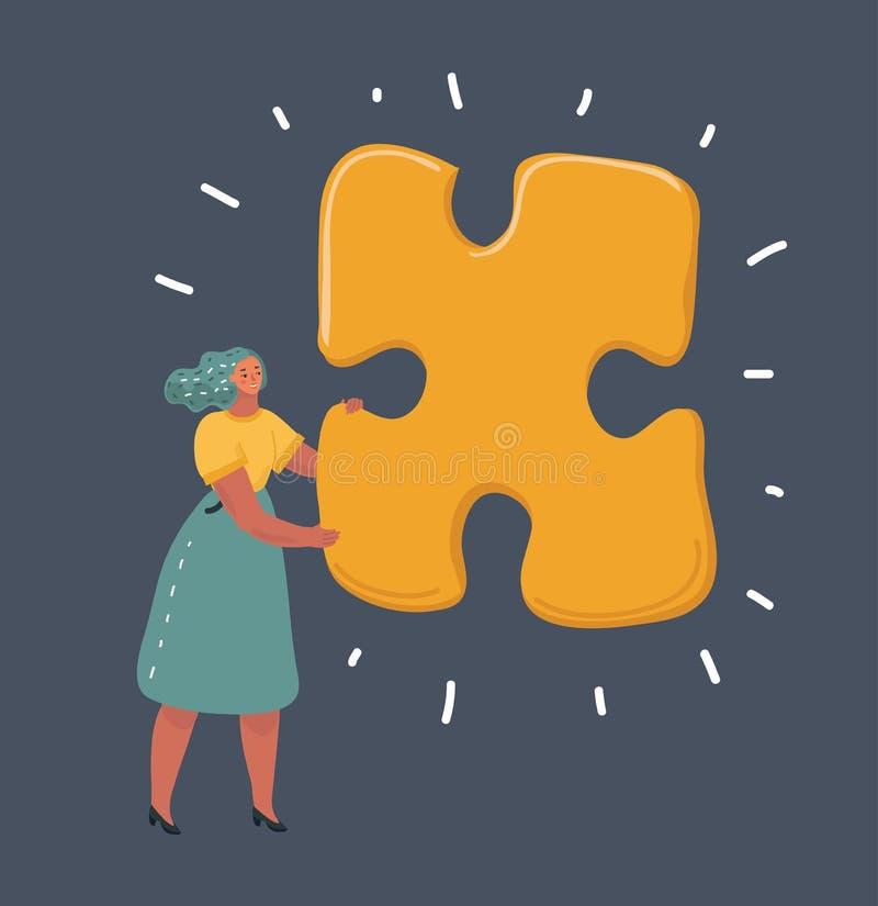 Femme avec le grand puzzle denteux illustration stock