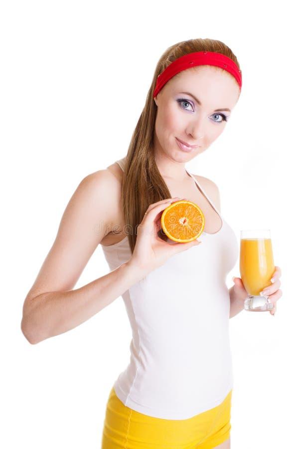 Femme avec le jus et le fruit d'orange photos stock