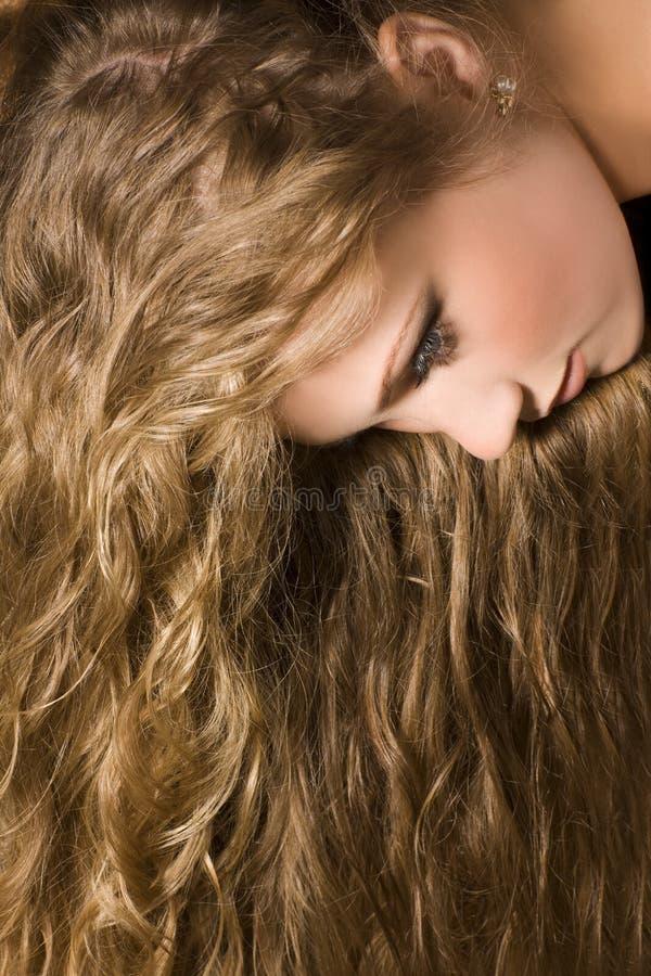 Femme avec le long cheveu images libres de droits