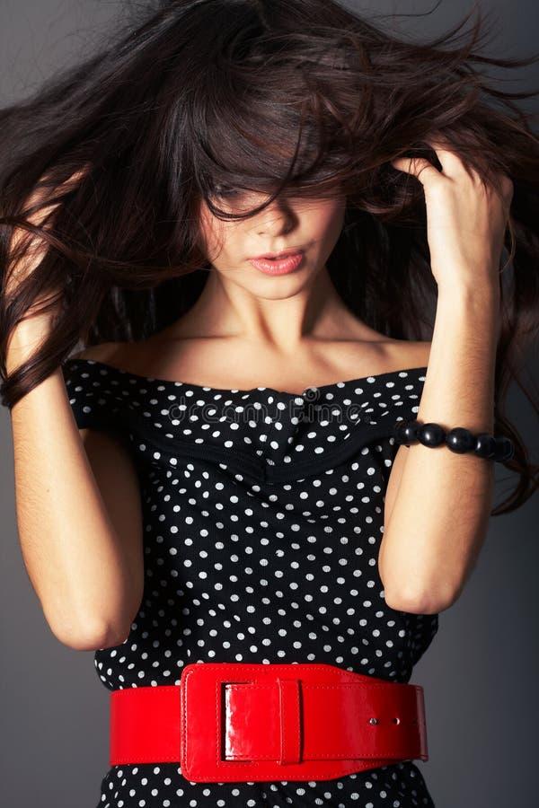 Femme avec le long cheveu de Brown photos libres de droits