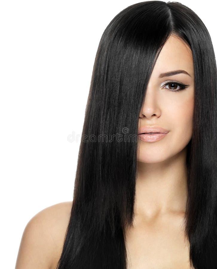 Femme Avec Le Long Cheveu Droit Photo stock
