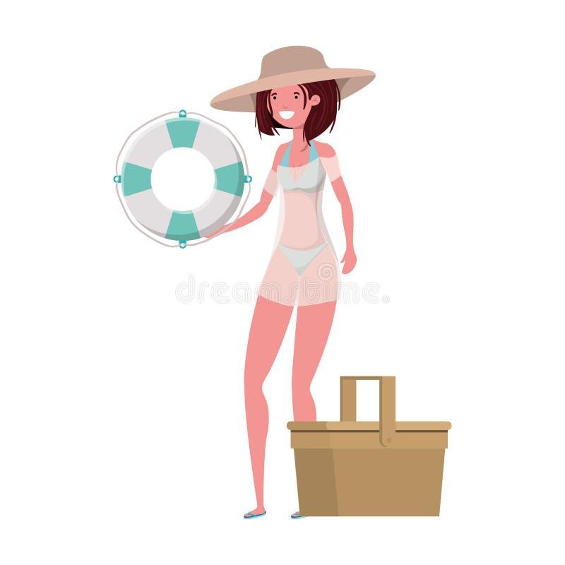Femme avec le maillot de bain et le flotteur de sauvetage à l'arrière-plan blanc illustration libre de droits