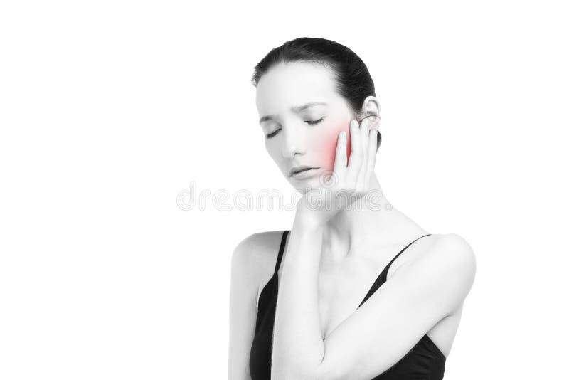 Femme avec le mal de dents Faites souffrir au corps humain d'isolement sur le fond blanc images libres de droits