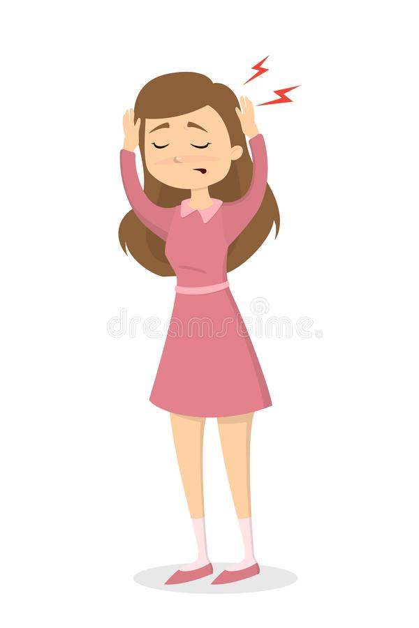 Femme avec le mal de tête illustration de vecteur