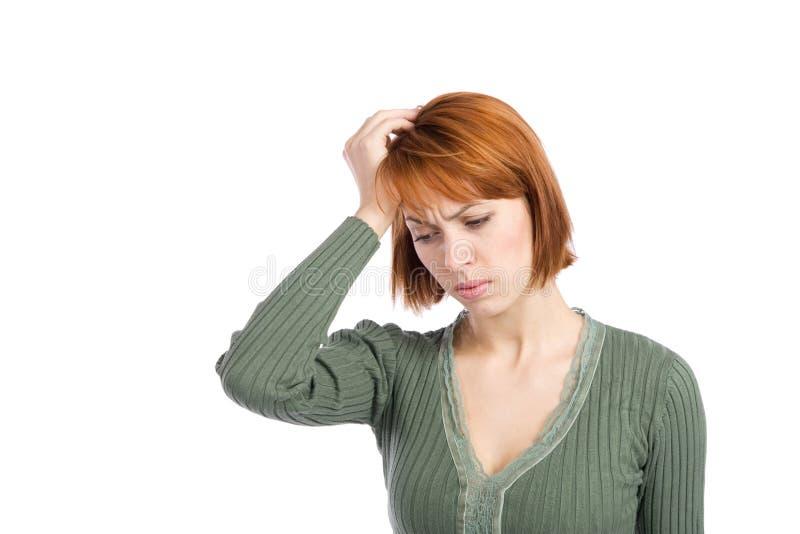 Femme avec le mal de tête de migraine photographie stock
