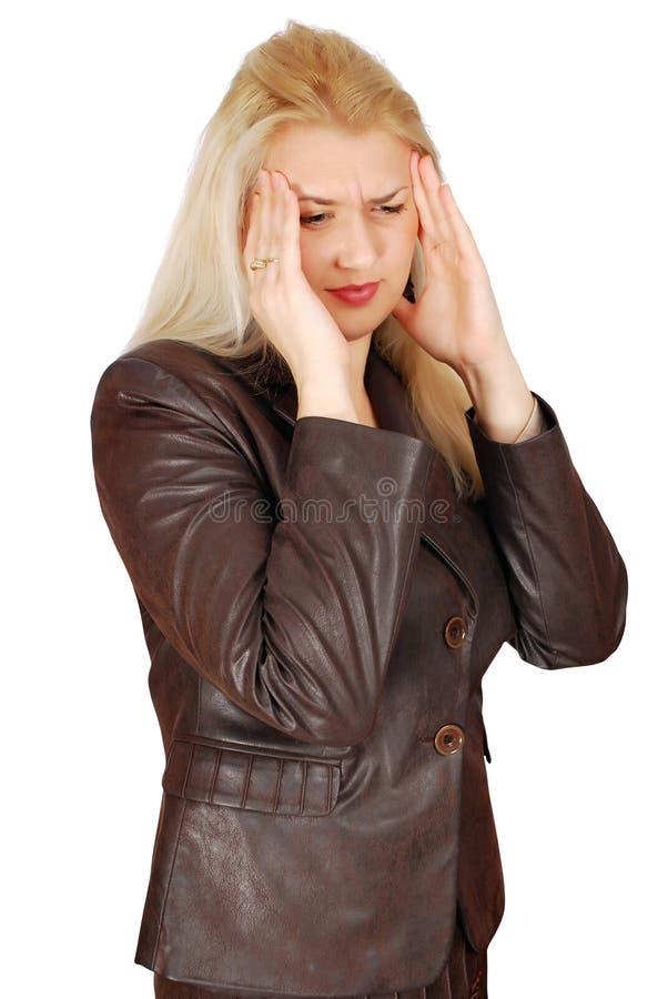Femme avec le mal de tête grave photos stock