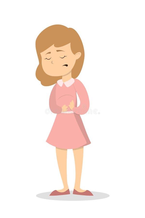 Femme avec le mal de ventre illustration libre de droits