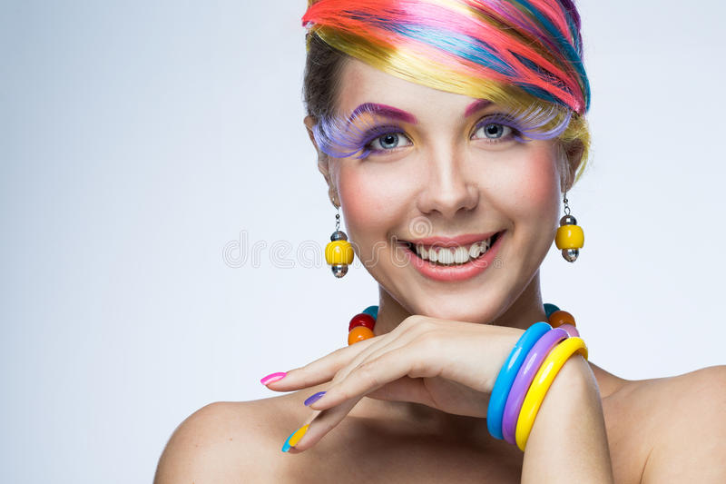 Femme avec le maquillage lumineux photo libre de droits