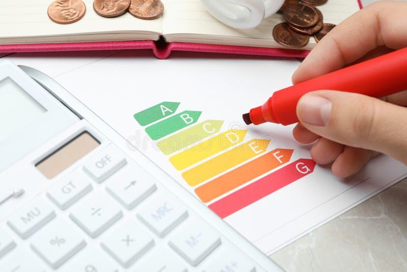 Femme avec le marqueur, le diagramme d'estimation de rendement énergétique et la calculatrice à la table photo libre de droits