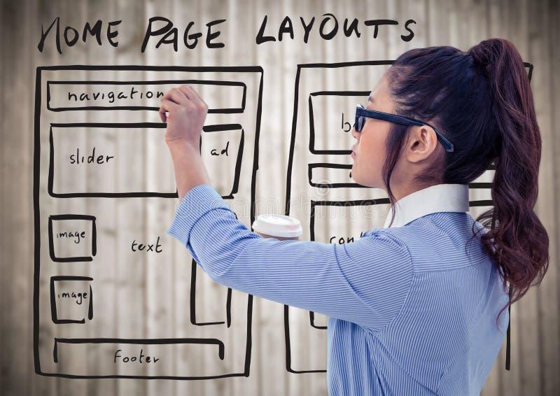 Femme avec le marqueur et le café contre le panneau en bois haut et trouble de moquerie de site Web illustration libre de droits