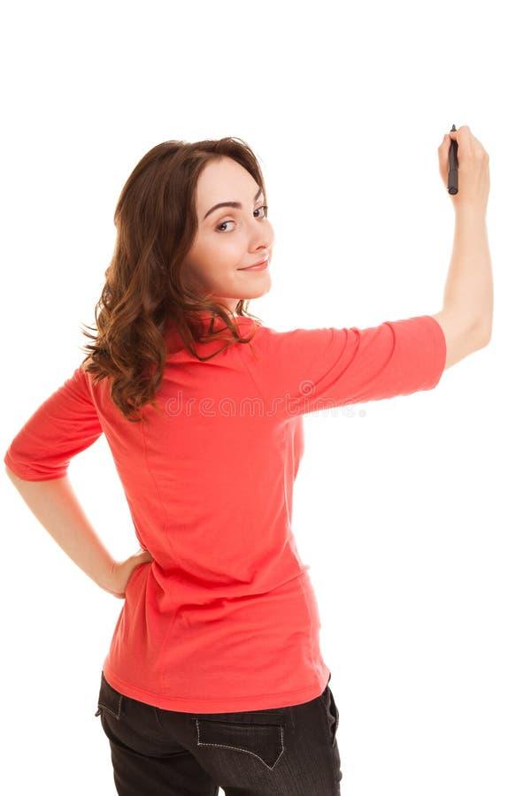 Femme avec le marqueur noir photographie stock libre de droits
