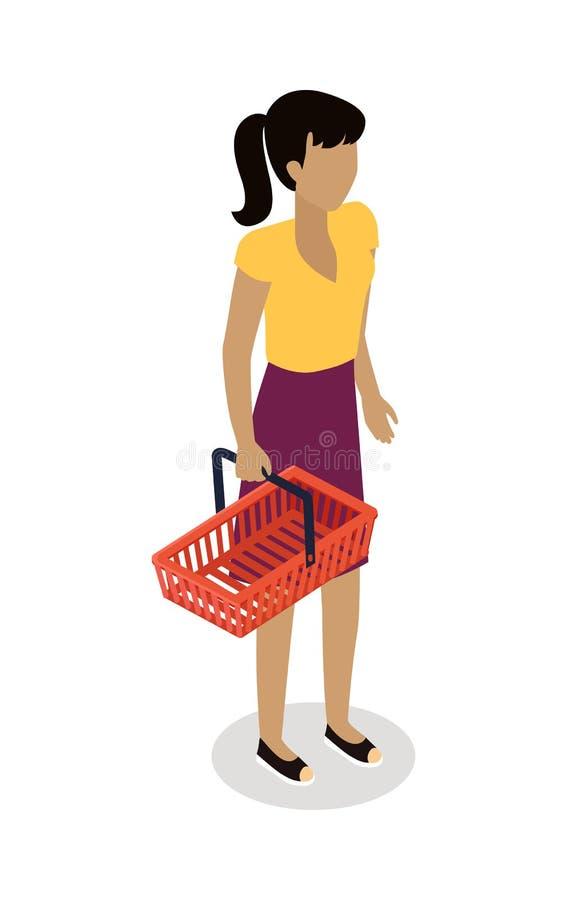 Femme avec le panier achetant le vecteur quotidien de produits illustration libre de droits