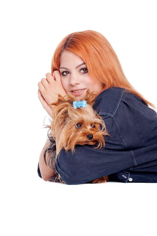 Femme avec le petit chien terrier de Yorkshire mignon images stock