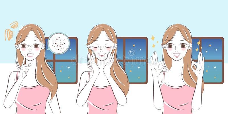 Femme avec le problème d'acné illustration de vecteur