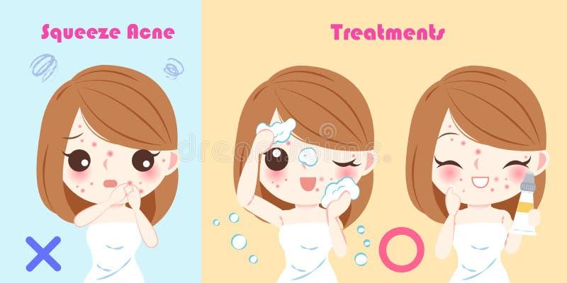 Femme avec le problème d'acné de compression illustration de vecteur
