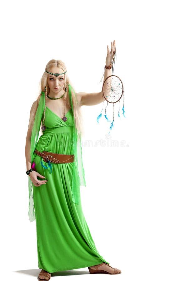 Femme avec le receveur rêveur images stock