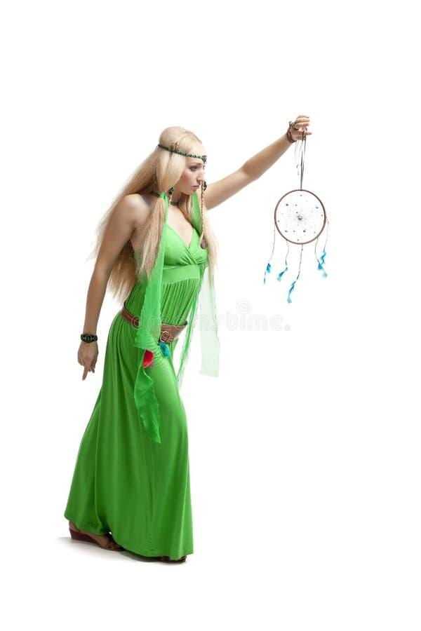 Femme avec le receveur rêveur photos stock