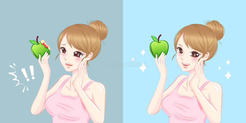 Femme avec le saignement gingival illustration stock