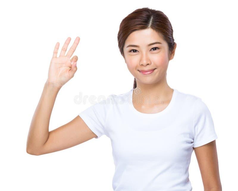 Femme avec le signe en bon état images stock
