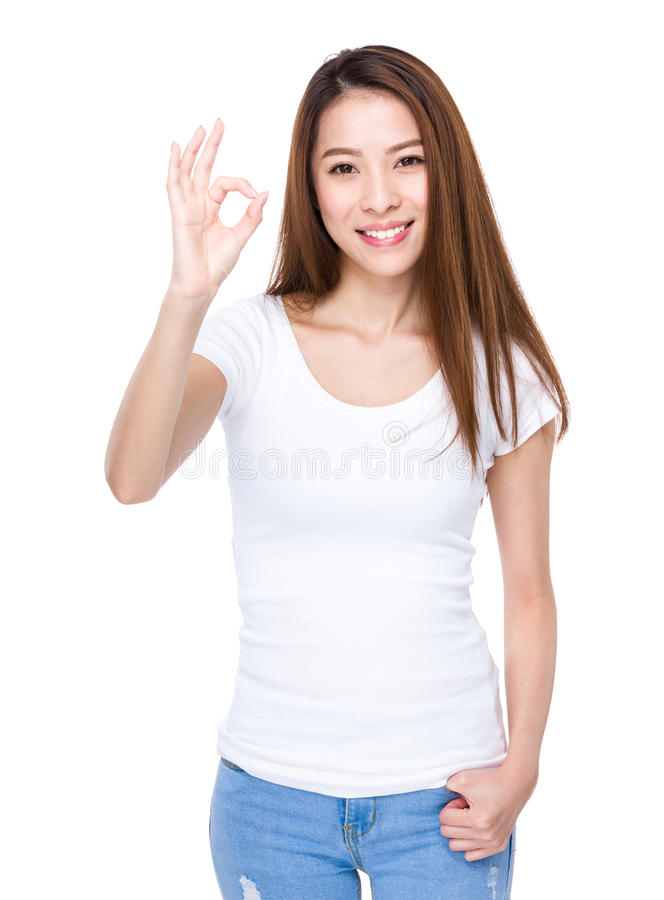 Femme avec le signe en bon état photos libres de droits