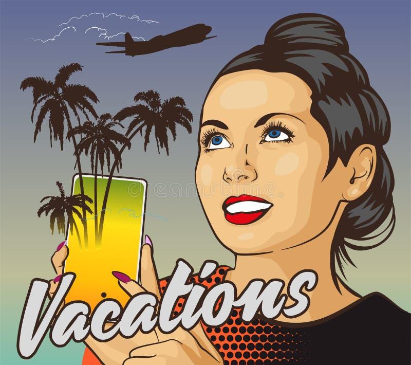 Femme avec le smartphone de participation de sourire Palmiers d'écran Mouche de jet sur le fond Service en ligne de r illustration de vecteur
