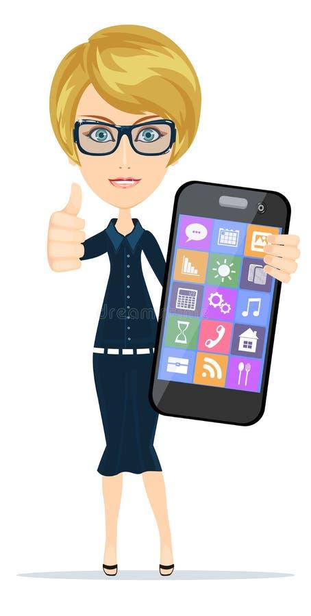 Femme avec le smartphone se tenant sur le fond blanc illustration de vecteur