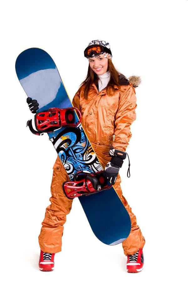 Femme avec le snowboard photographie stock libre de droits