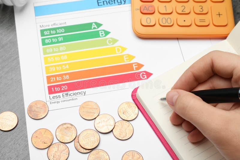 Femme avec le stylo, le carnet, la calculatrice, les pièces de monnaie et le diagramme d'estimation de rendement énergétique à la photo stock