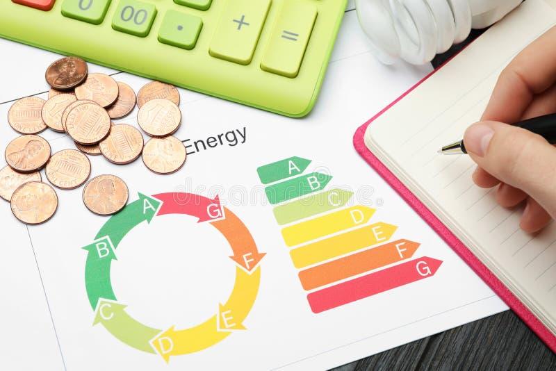 Femme avec le stylo, le carnet, la calculatrice, les pièces de monnaie et le diagramme d'estimation de rendement énergétique à la photo libre de droits