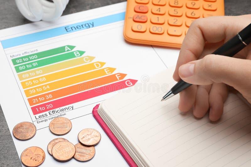 Femme avec le stylo, le carnet, la calculatrice, les pièces de monnaie et le diagramme d'estimation de rendement énergétique à la photos libres de droits