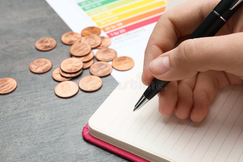Femme avec le stylo, le carnet, les pièces de monnaie et le diagramme d'estimation de rendement énergétique à la table images stock
