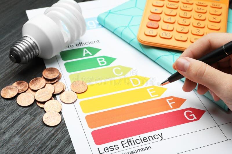 Femme avec le stylo, le diagramme d'estimation de rendement énergétique, les pièces de monnaie, l'ampoule et la calculatrice à la photographie stock libre de droits