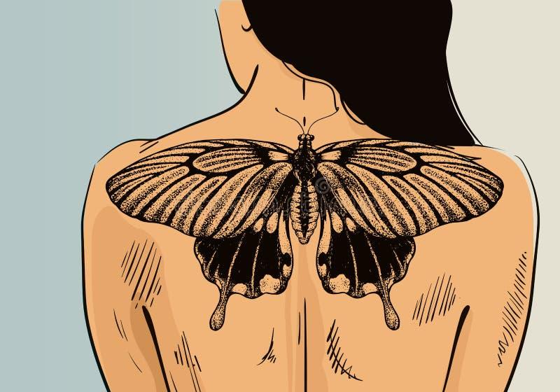 Femme avec le tatouage sur la bannière Tatouage de papillon de vecteur sur le dos Illustration pour le salon de tatouage illustration stock