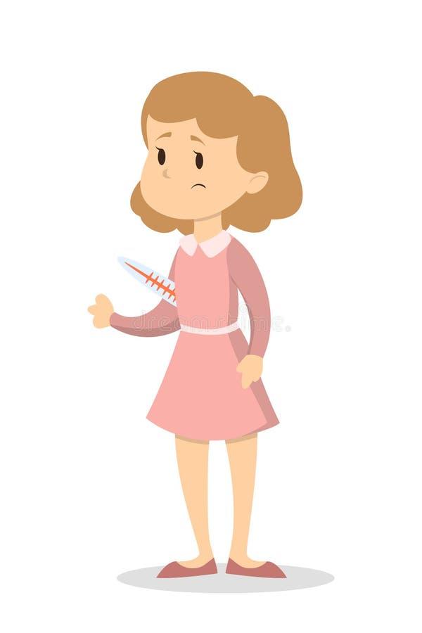 Femme avec le thermomètre illustration de vecteur